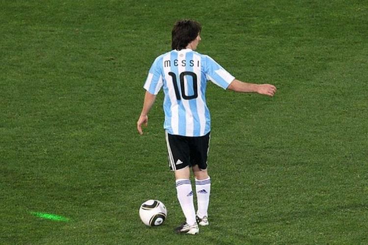 Lionel Messi, number 10, during a soccer game at Ellis Park Stadium.